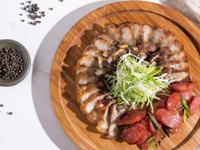 食譜-鹹豬肉+蒜苗香腸