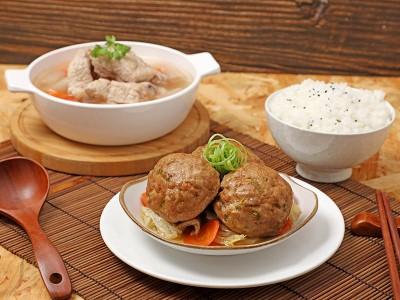 食譜-竹笙蘿蔔排骨湯+清燉獅子頭 (一鍋兩菜)